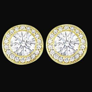3 ct. round diamond stud ear ring gold yellow new